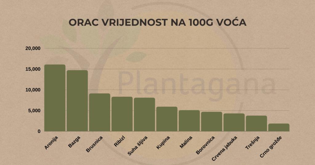 ORAC vrijednost na 100g voća